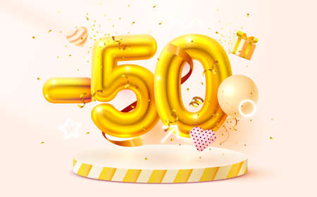 50 Off. Discount creative composition. 3d Golden sale symbol with decorative objects, heart shaped balloons, golden confetti, podium and gift box. Sale banner and poster. Vector