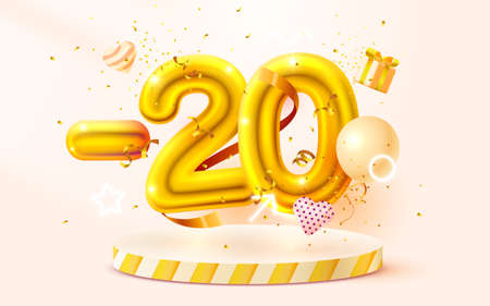 20 Off. Discount creative composition. 3d Golden sale symbol with decorative objects, heart shaped balloons, golden confetti, podium and gift box. Sale banner and poster. Vector