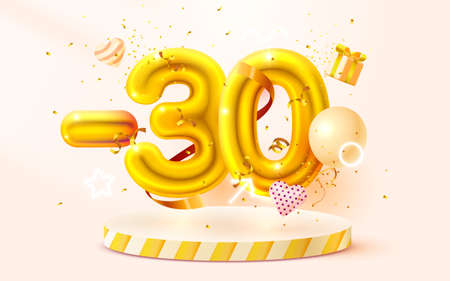 30 Off. Discount creative composition. 3d Golden sale symbol with decorative objects, heart shaped balloons, golden confetti, podium and gift box. Sale banner and poster. Vector