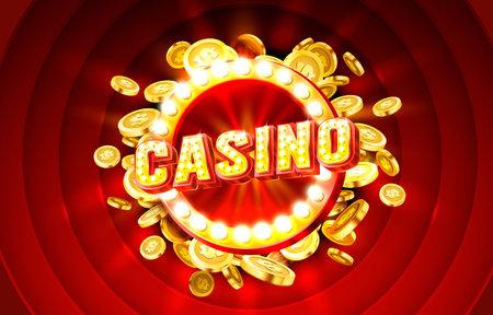 Casino label frame, golden banner, border winner, Vegas game. Vector Ilustração