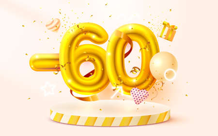 60 Off. Discount creative composition. 3d Golden sale symbol with decorative objects, heart shaped balloons, golden confetti, podium and gift box. Sale banner and poster. Vector