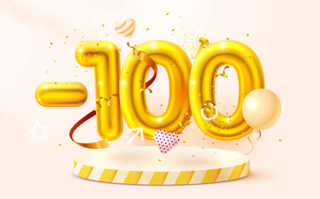 100 Off. Discount creative composition. 3d Golden sale symbol with decorative objects, heart shaped balloons, golden confetti, podium and gift box. Sale banner and poster. Vector