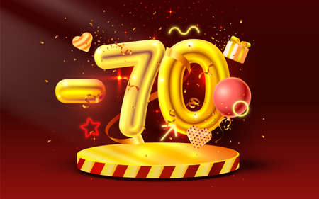 70 Off. Discount creative composition. 3d Golden sale symbol with decorative objects, heart shaped balloons, golden confetti, podium and gift box. Sale banner and poster. Vector