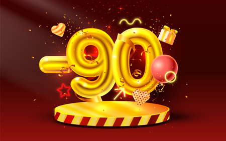 90 Off. Discount creative composition. 3d Golden sale symbol with decorative objects, heart shaped balloons, golden confetti, podium and gift box. Sale banner and poster. Vector Ilustração