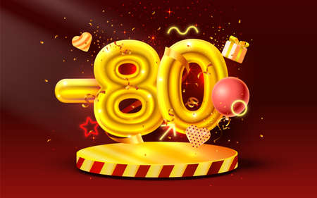 80 Off. Discount creative composition. 3d Golden sale symbol with decorative objects, heart shaped balloons, golden confetti, podium and gift box. Sale banner and poster. Vector Ilustração