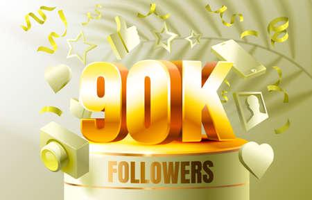 Thank you followers peoples, 90k online social group, happy banner celebrate, Vector Ilustração