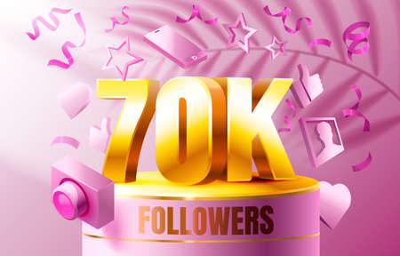 Thank you followers peoples, 70k online social group, happy banner celebrate, Vector Ilustração