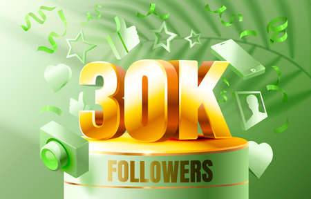 Thank you followers peoples, 30k online social group, happy banner celebrate, Vector