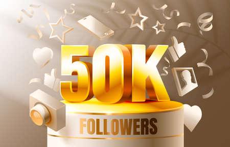 Thank you followers peoples, 50k online social group, happy banner celebrate, Vector Ilustração