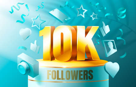 Thank you followers peoples, 10k online social group, happy banner celebrate, Vector