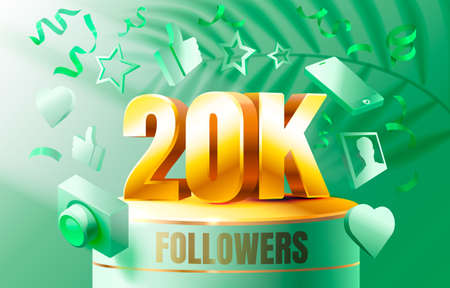 Thank you followers peoples, 20k online social group, happy banner celebrate, Vector