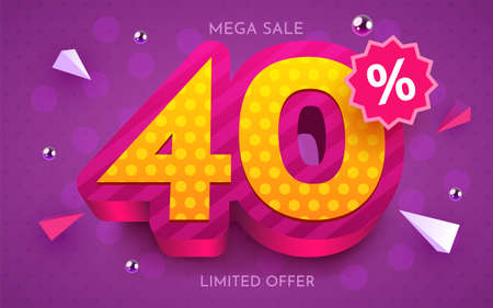 40 percent Off. Discount creative composition. 3d mega sale symbol with decorative objects. Sale banner and poster. Ilustração