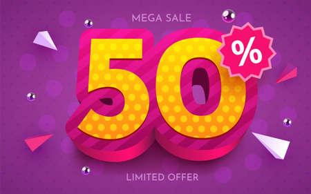50 percent Off. Discount creative composition. 3d mega sale symbol with decorative objects. Sale banner and poster. Ilustração