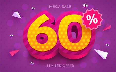 60 percent Off. Discount creative composition. 3d mega sale symbol with decorative objects. Sale banner and poster. Ilustração