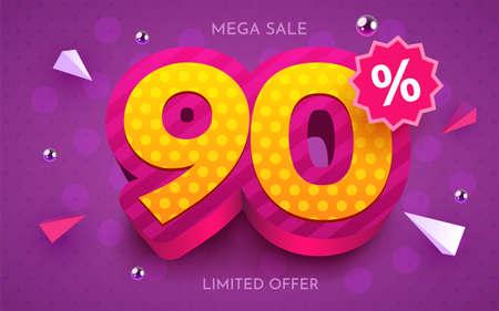 90 percent Off. Discount creative composition. 3d mega sale symbol with decorative objects. Sale banner and poster. Ilustração