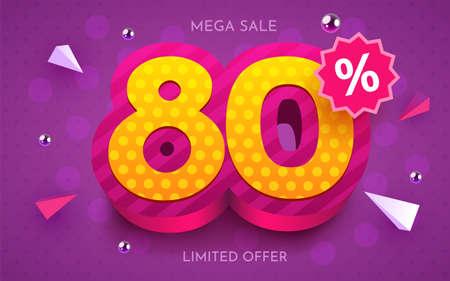 80 percent Off. Discount creative composition. 3d mega sale symbol with decorative objects. Sale banner and poster. Ilustração