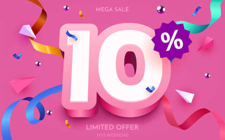 10 percent Off. Discount creative composition. 3d mega sale symbol with decorative objects. Sale banner and poster. Ilustração