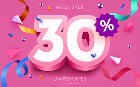 30 percent Off. Discount creative composition. 3d mega sale symbol with decorative objects. Sale banner and poster. Ilustração