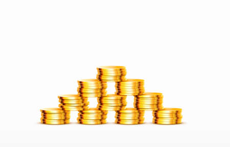 Stacks of increasing coins gold coins on white background. Vector Ilustração
