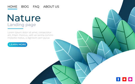 Landing page template with green trendy exotic palm leaves background. Tropical botanical design. Concept for website development