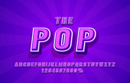 Pop Retro font set collection, letters and numbers symbol. Vector Иллюстрация