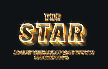 The star font set collection, letters and numbers symbol. Vector Иллюстрация