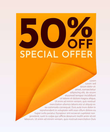 Abstract Sale banner or poster with curved paper. Sale word composition with confetti. Иллюстрация