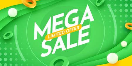 Abstract Mega Sale banner or poster design. Special offer composition.