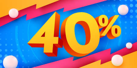 40 percent Off. Discount creative composition. 3d mega sale symbol with decorative objects. Sale banner and poster. Иллюстрация