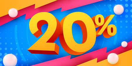 20 percent Off. Discount creative composition. 3d mega sale symbol with decorative objects. Sale banner and poster.