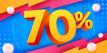 70 percent Off. Discount creative composition. 3d mega sale symbol with decorative objects. Sale banner and poster.