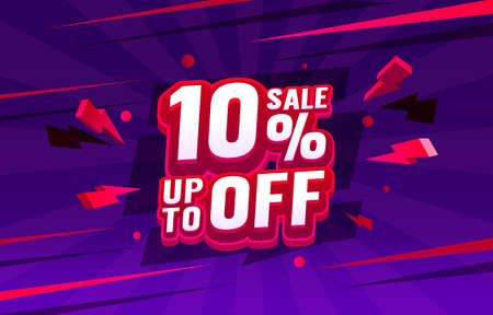 Up To 10 off sale banner, promotion flyer, retro label. Vector