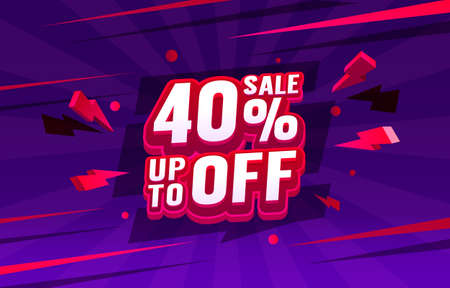 Up To 40 off sale banner, promotion flyer, retro label. Vector