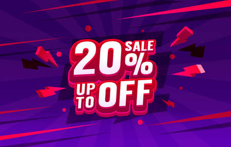 Up To 20 off sale banner, promotion flyer, retro label. Vector