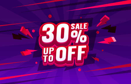 Up To 30 off sale banner, promotion flyer, retro label. Vector