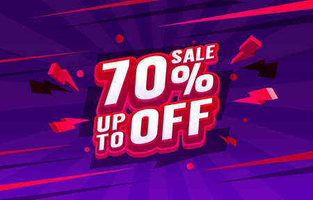 Up To 70 off sale banner, promotion flyer, retro label. Vector