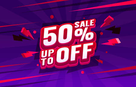 Up To 50 off sale banner, promotion flyer, retro label. Vector