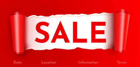 Sale or discount colorful banner. Ripped paper concept.