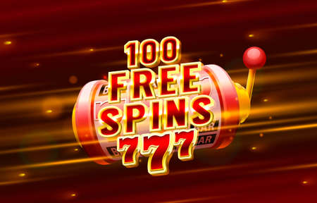 Casino 100 free spin 777 label frame, golden banner, border winner, Vegas game. Vector Иллюстрация