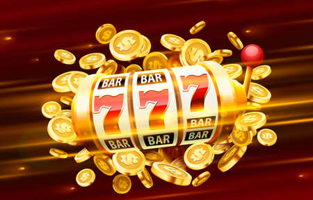 Slots 777 banner, golden coins jackpot, Casino 3d cover, slot machines and roulette with cards. Vector