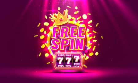 Casino free spin 777 label frame, golden banner, border winner, Vegas game. Vector Иллюстрация