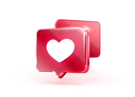 Heart like icon, sign follower 3d banner, love post social media. Vector
