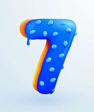 Glazed donut font. Number 7. Number seven form cake. Dessert style. Collection of tasty bakery numbers with cream. Anniversary and birthday concept. Иллюстрация