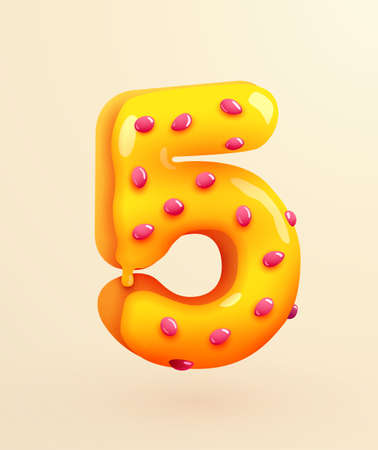 Glazed donut font. Number 5. Number five cake. Dessert style. Collection of tasty bakery numbers with cream. Anniversary and birthday concept. Иллюстрация