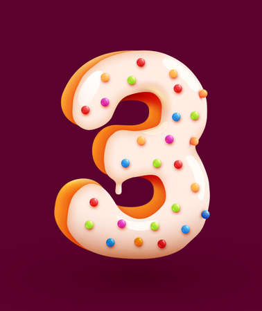 Glazed donut font. Number 3. Number three cake. Dessert style. Collection of tasty bakery numbers with cream. Anniversary and birthday concept.