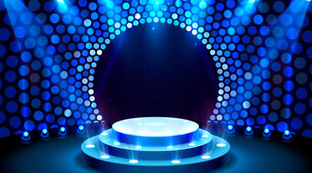 Show light, Stage Podium Scene with for Award Ceremony on blue Background. Vector Иллюстрация