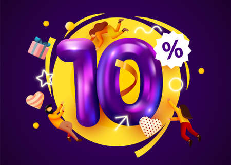 Mega sale. 10 percent discount. Special offer 10% background with flying people. Promotion poster or banner. Иллюстрация