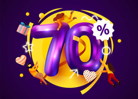 Mega sale. 70 percent discount. Special offer 70% background with flying people. Promotion poster or banner.