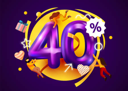 Mega sale. 40 percent discount. Special offer 40% background with flying people. Promotion poster or banner.
