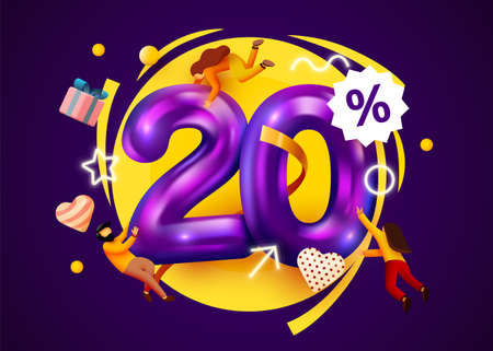 Mega sale. 20 percent discount. Special offer 20% background with flying people. Promotion poster or banner.